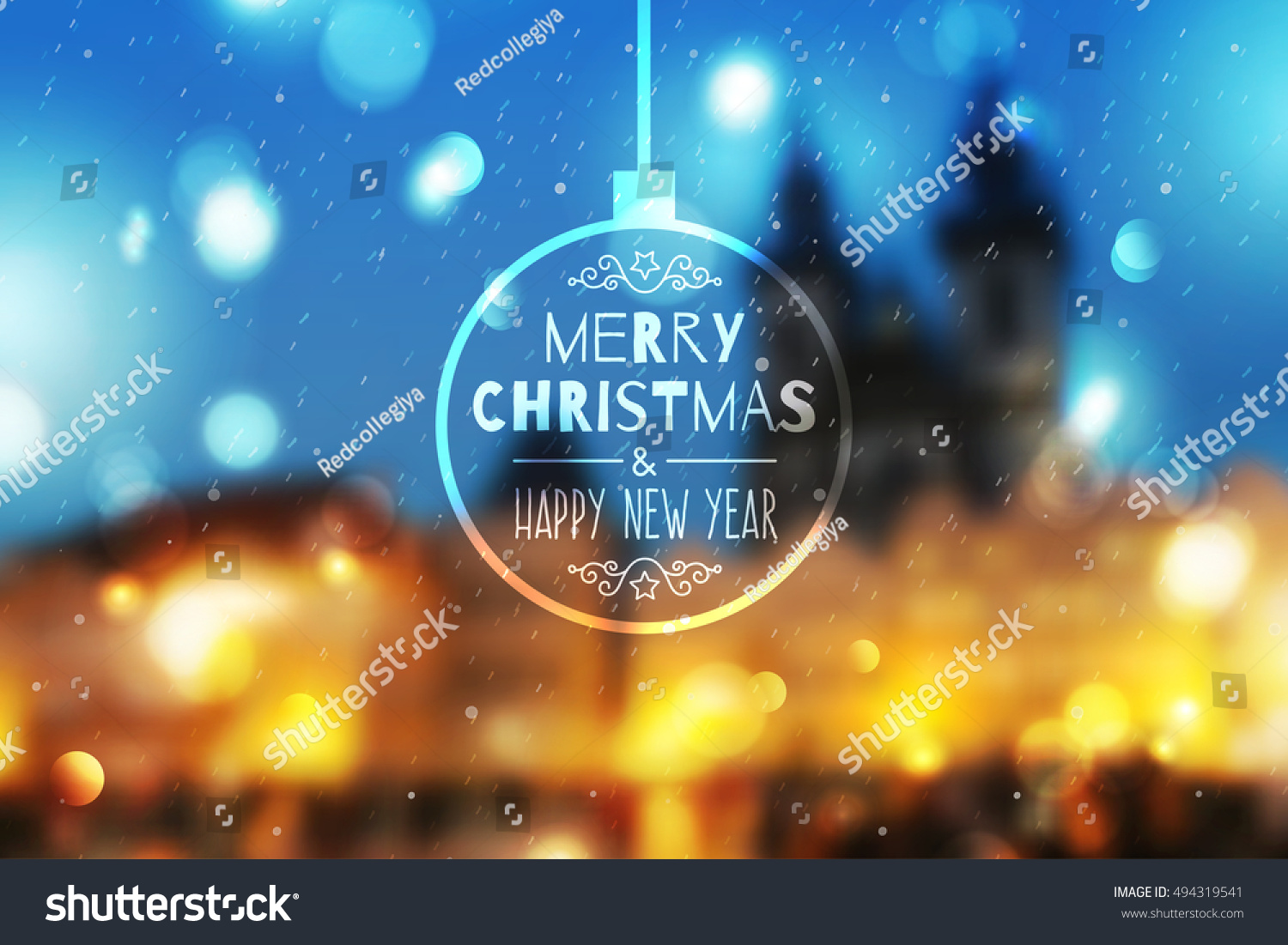 merry christmas and happy new year vector blurred background of night town prague view and