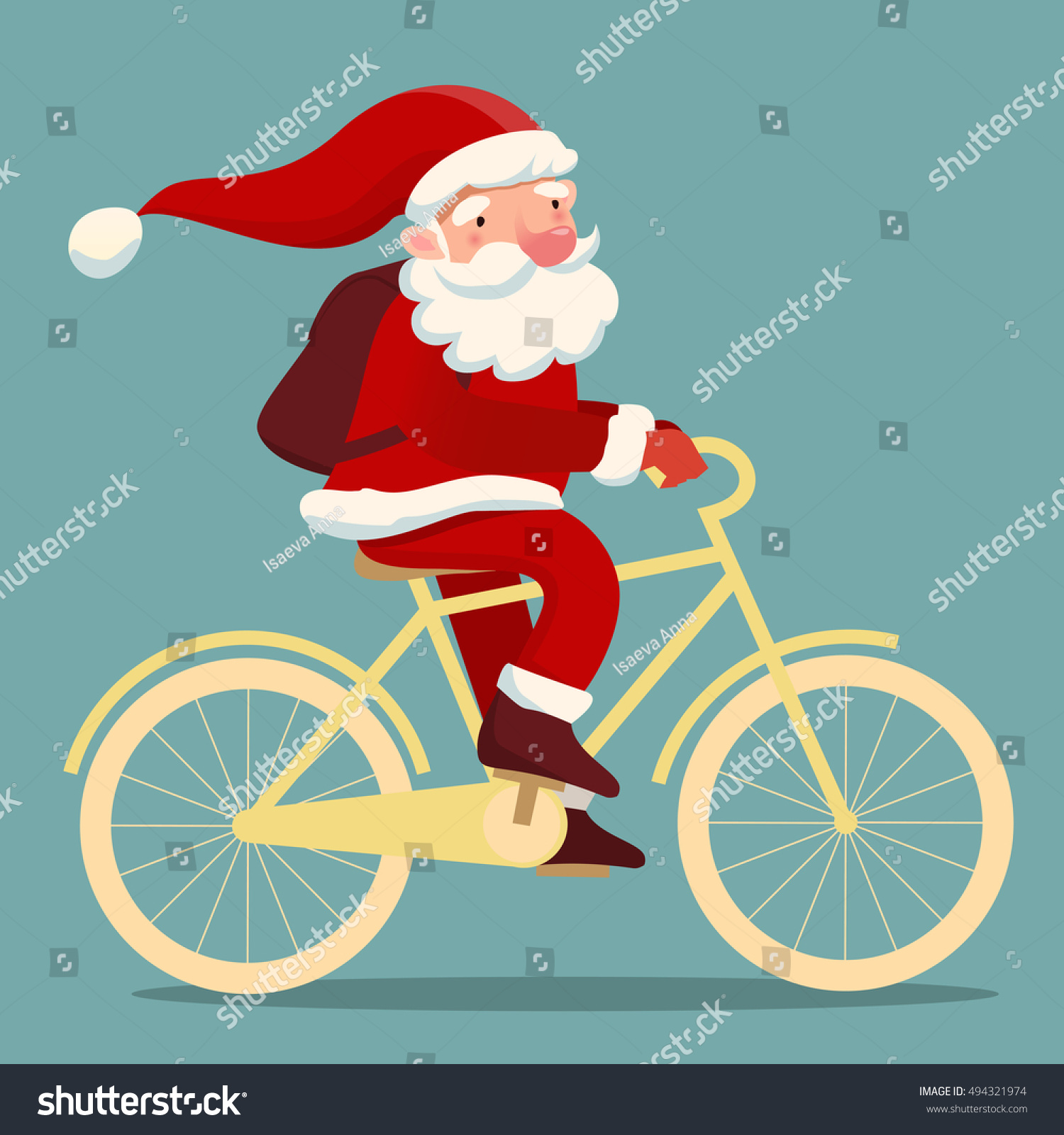 Cute Santa Claus On Bicycle Backpack Stock Vector (Royalty Free ...