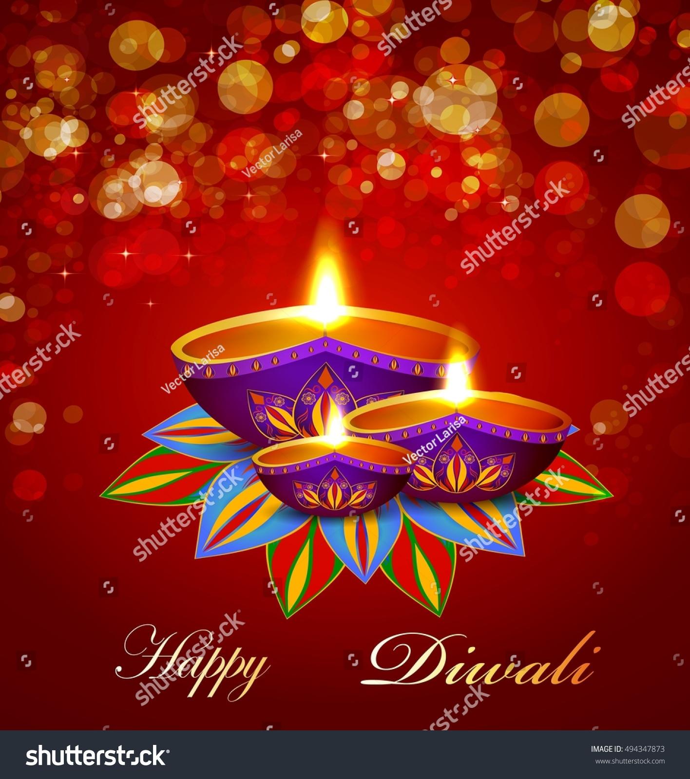 Oil Lamp Diwali Greeting Card Stock Vector Royalty Free 494347873