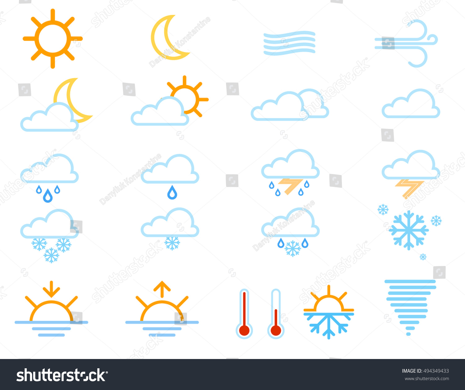 Set Weather Icons Windy Cloud Meteorology Stock Vector 494349433