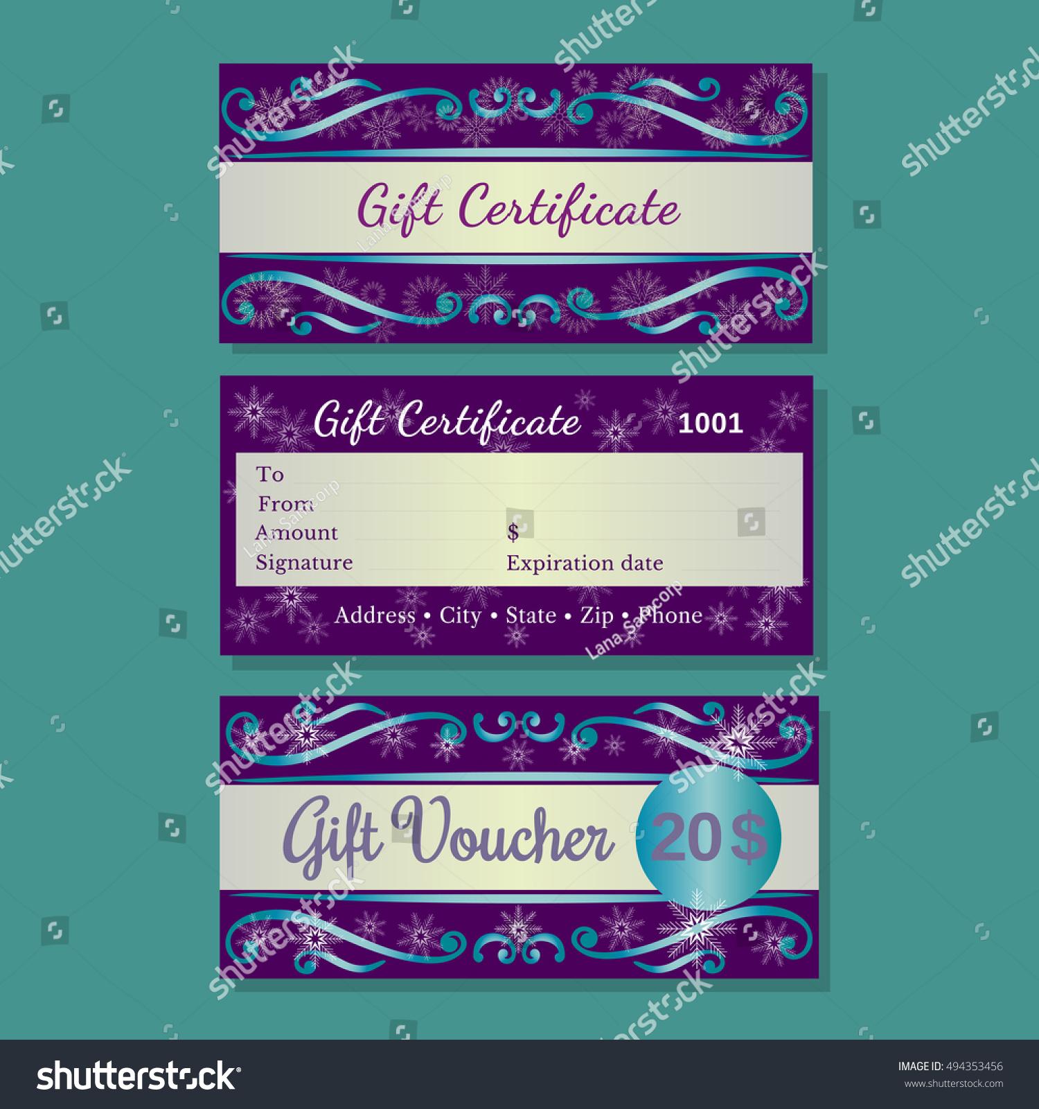 Set Templates Christmas Gift Certificate Design Stock Vector