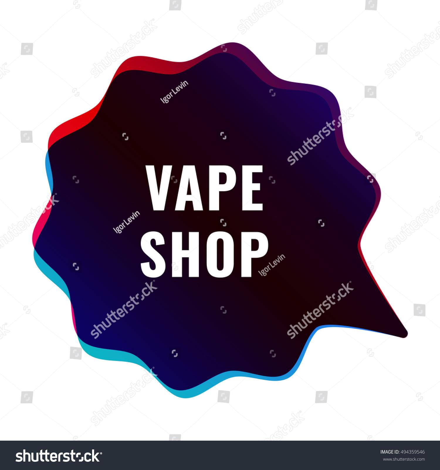 Vape Shop Vapor Flat Vector Badge Stock Vector (Royalty Free