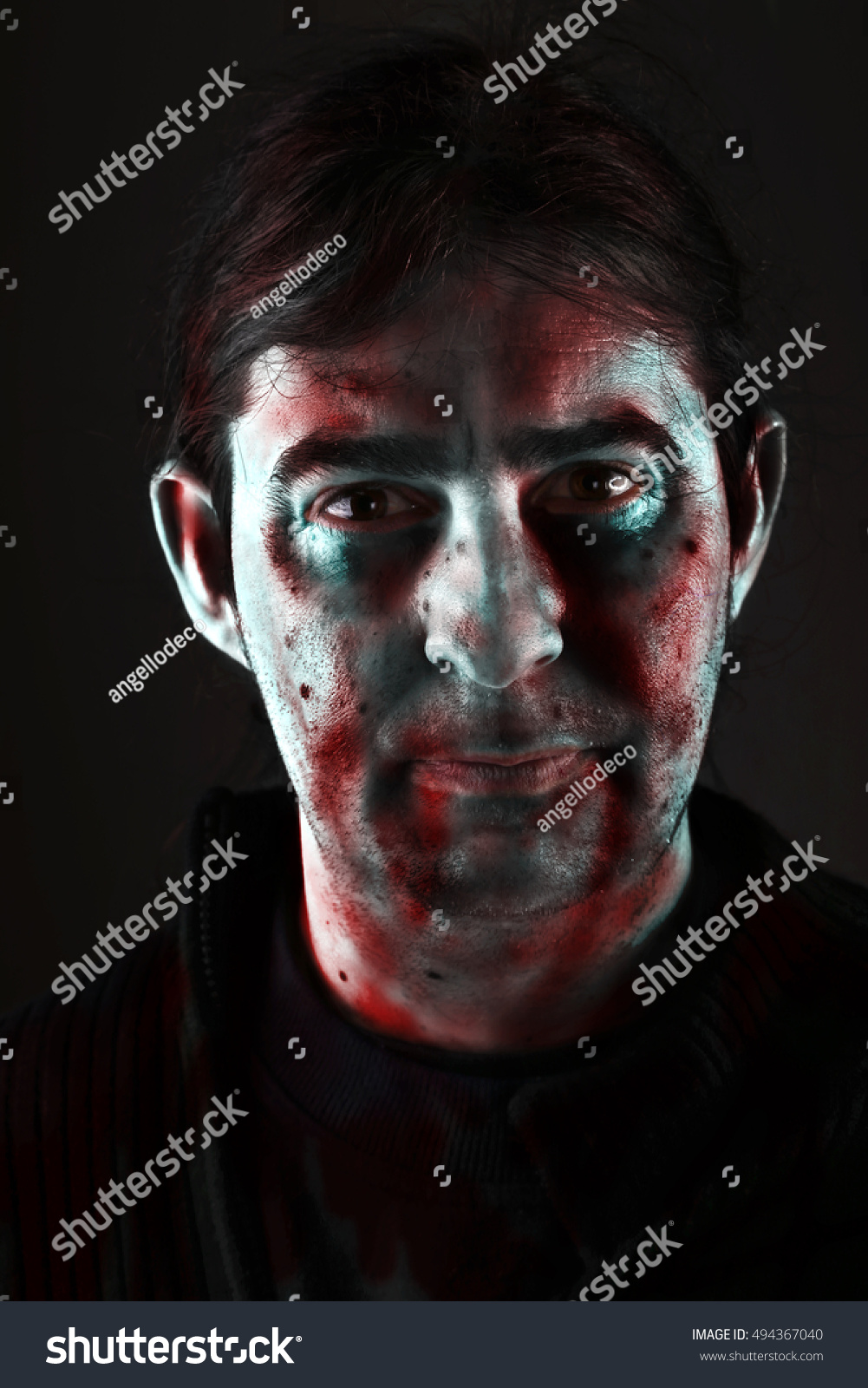 Halloween Maan.Halloween Man Painted Face On Black Stock Photo Edit Now