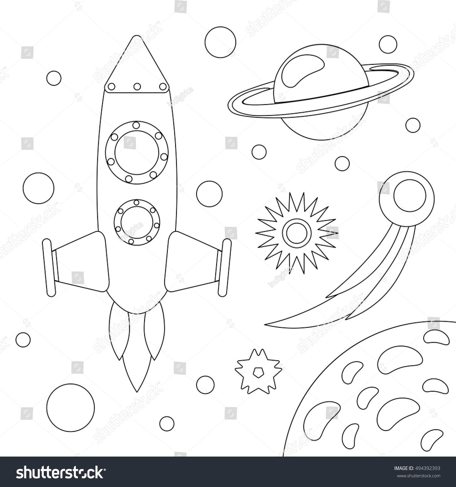 coloring book outlined outer space elementsplanets stock vector