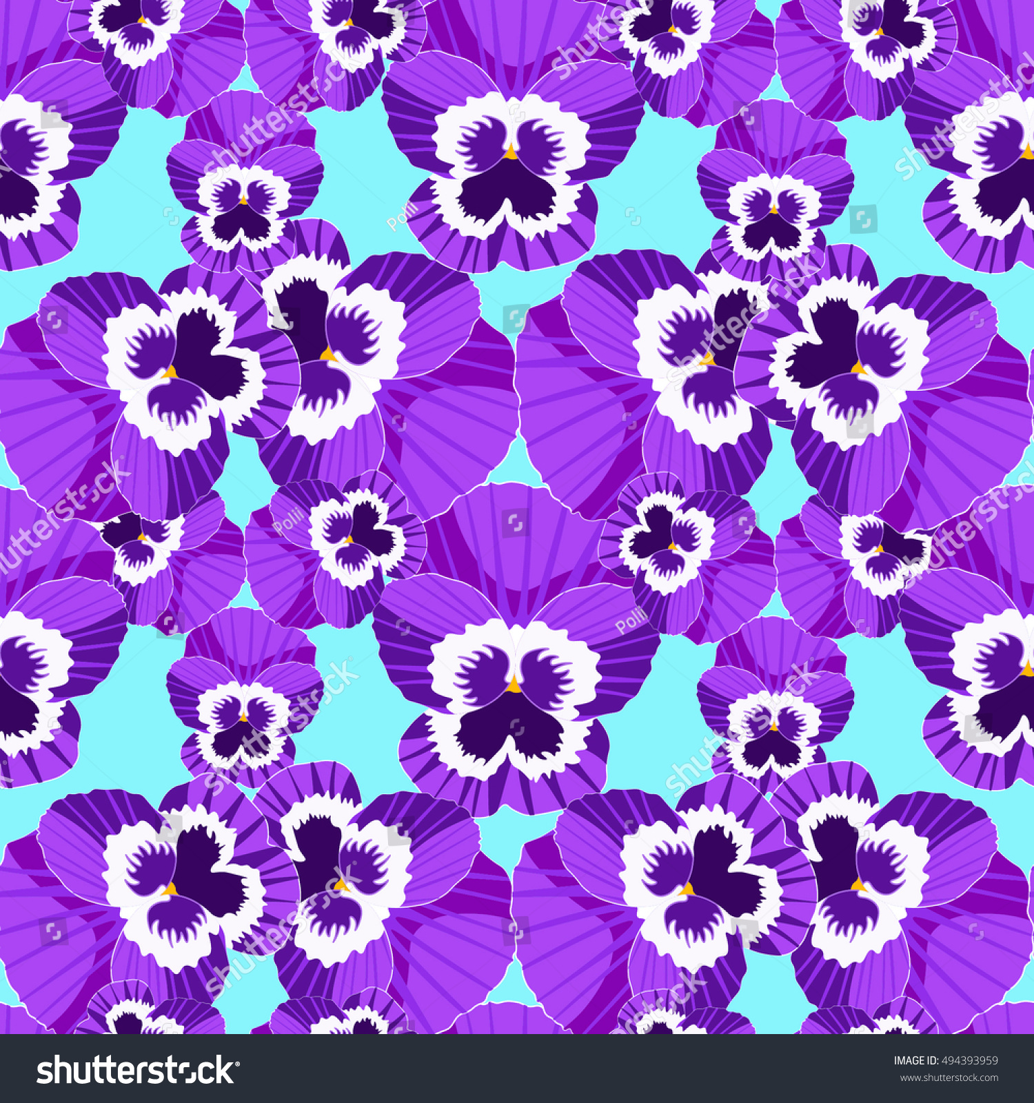Seamless Pattern Violet Flowers Of Pansies On A Blue Background