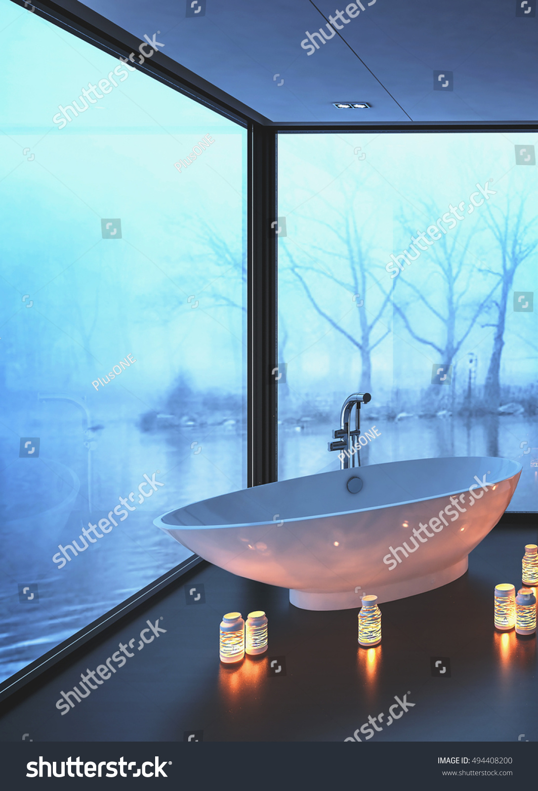 Warm Cozy Modern Bathroom Glowing Candles Stock Illustration ...