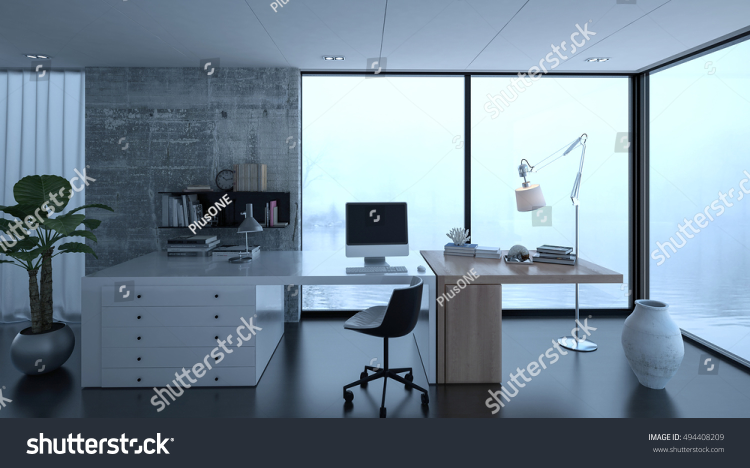 3d Rendering Of Small Home Office Interior At Luxury Home With Wide Desk.  Watery Scene