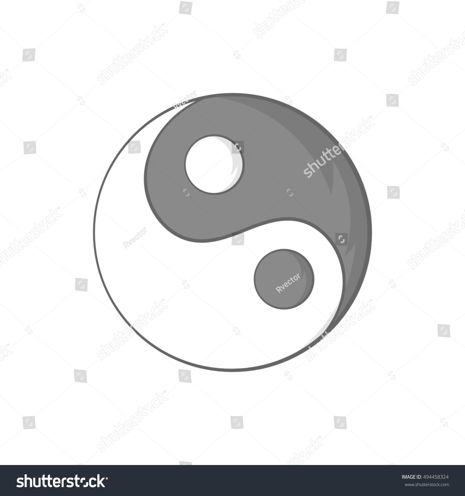 Sign Yin Yang Icon In Black Monochrome Style Isolated On White