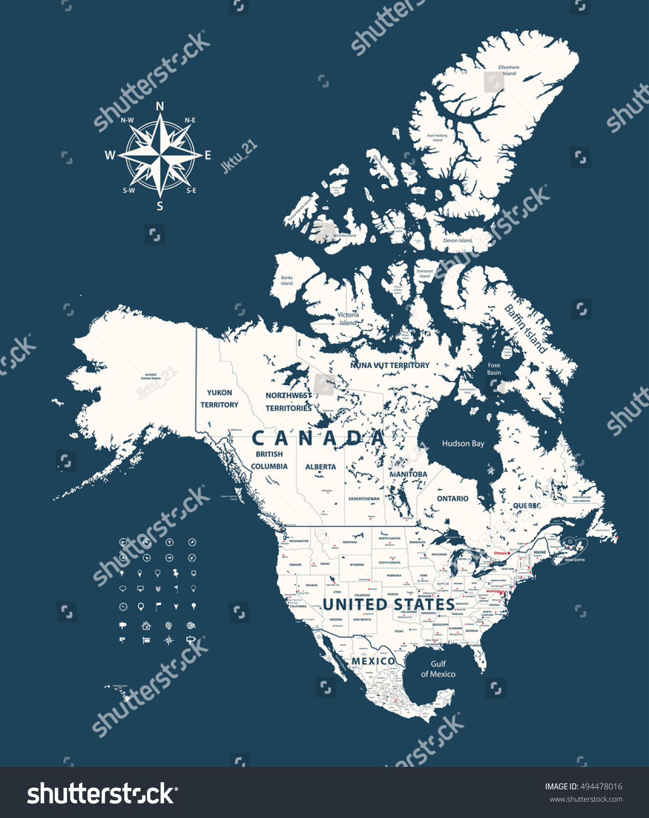 Canada United States Mexico Map States Stock Vector - United states and mexico map