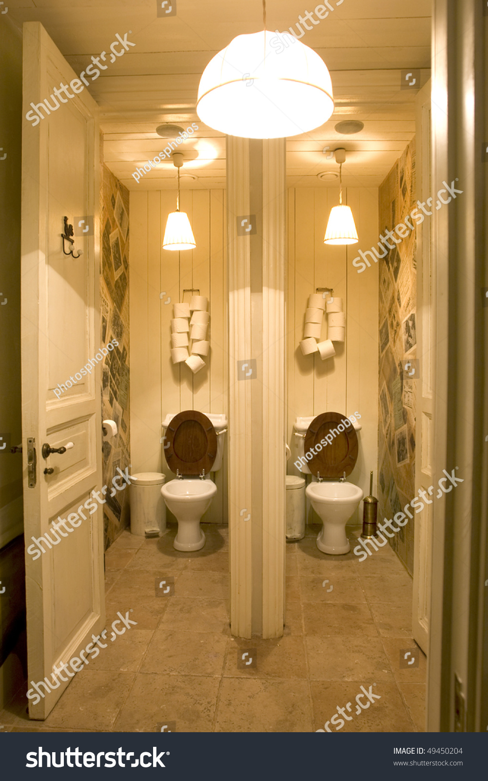 Bathroom In Public Place With Two Toilets Stock Photo