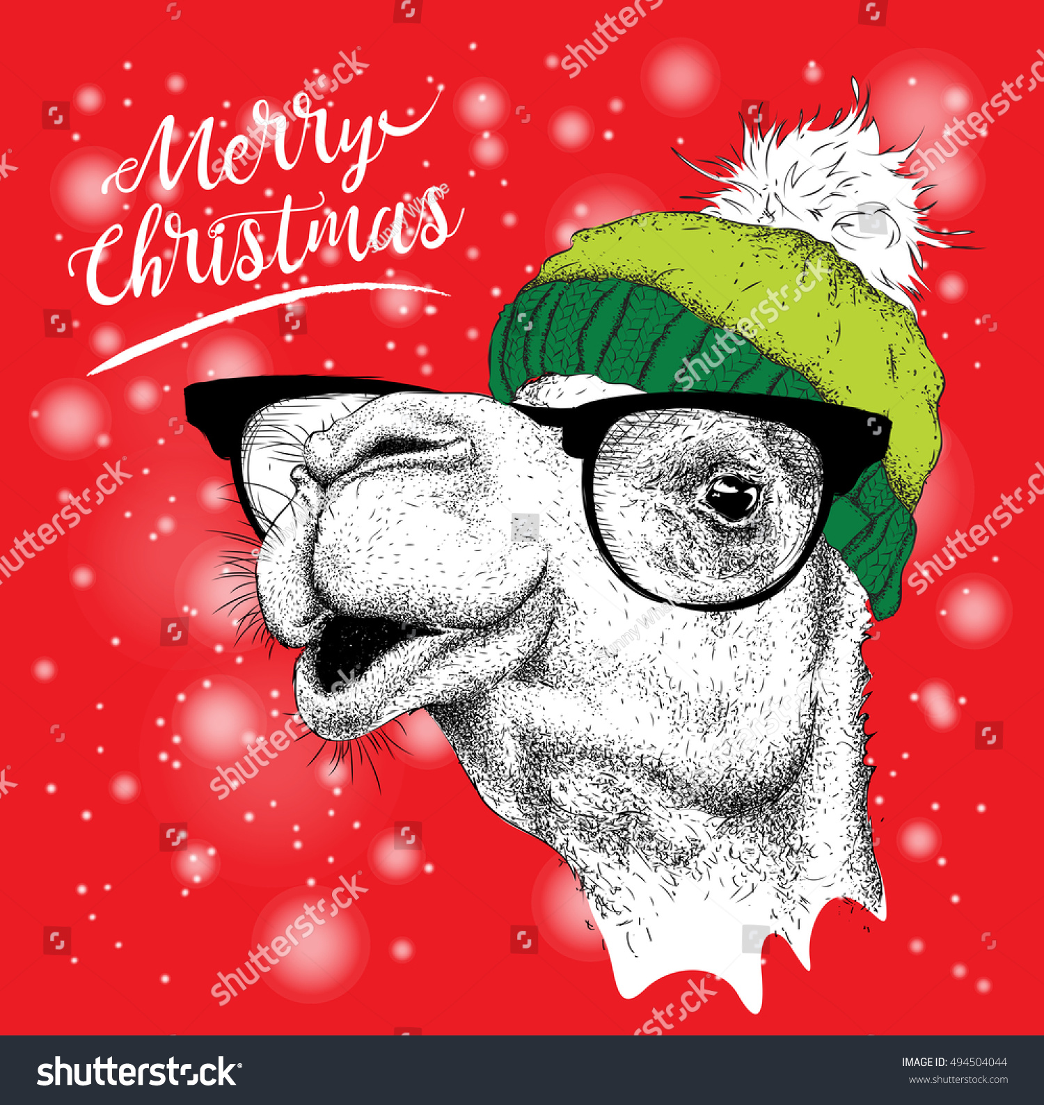 Christmas Card Camel Winter Hat Merry Stock Vector