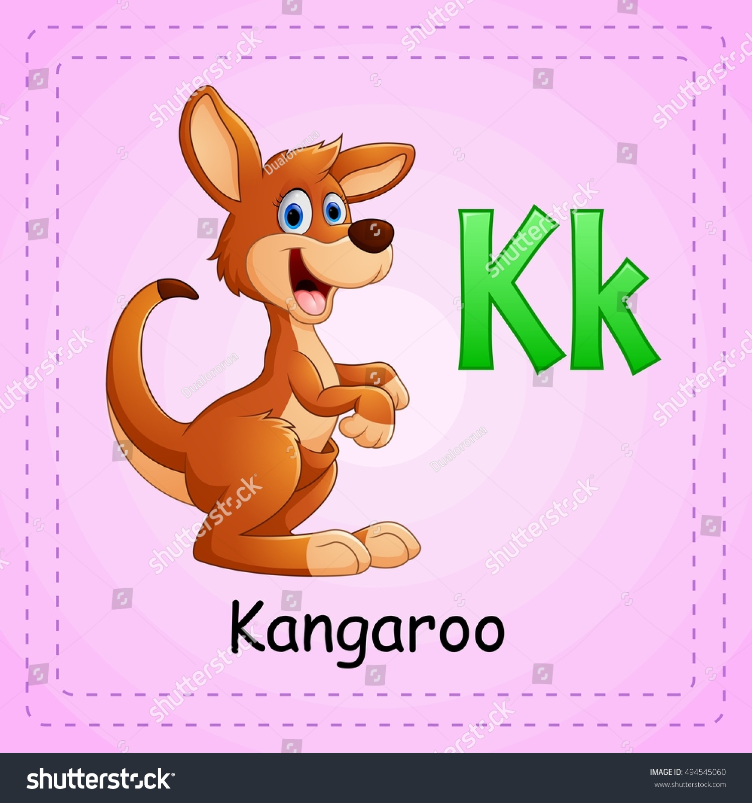 vector illustration of animals alphabet k is for kangaroo