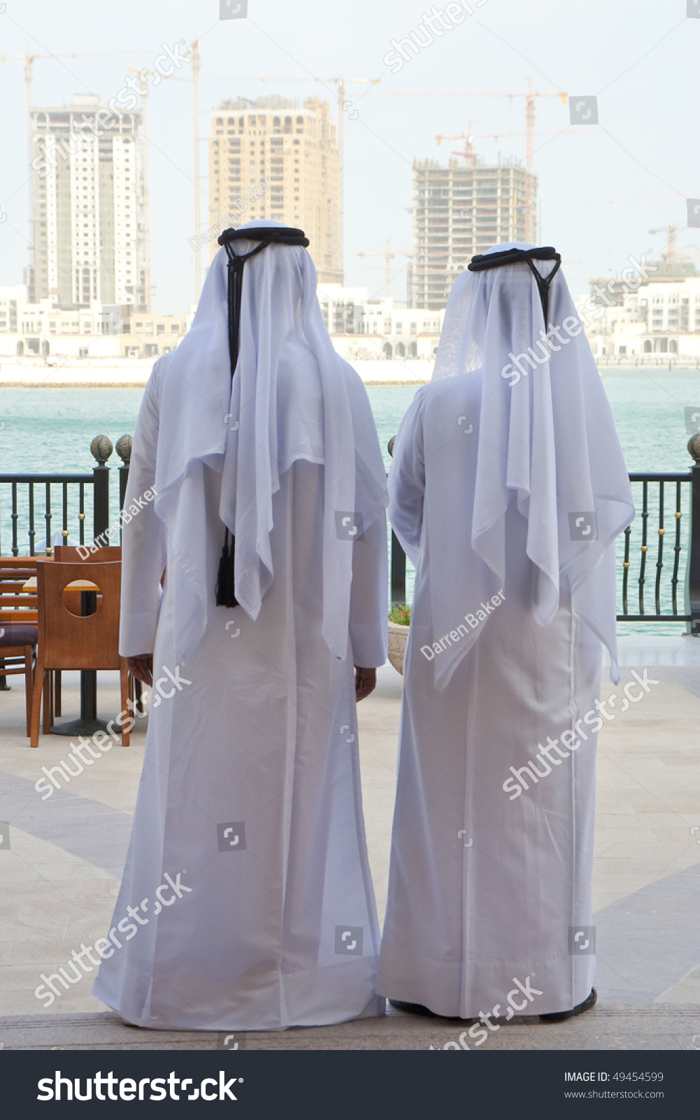 two anonymous arab in traditional white clothing of