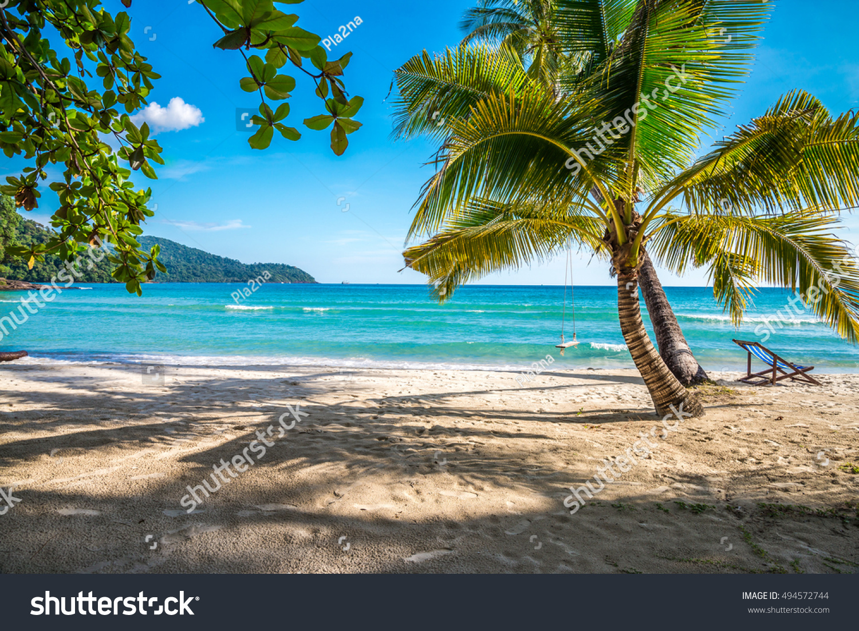 Tropical Island Beach Scenery: Beautiful Tropical Island Beach, Summer Nature Scene Beach
