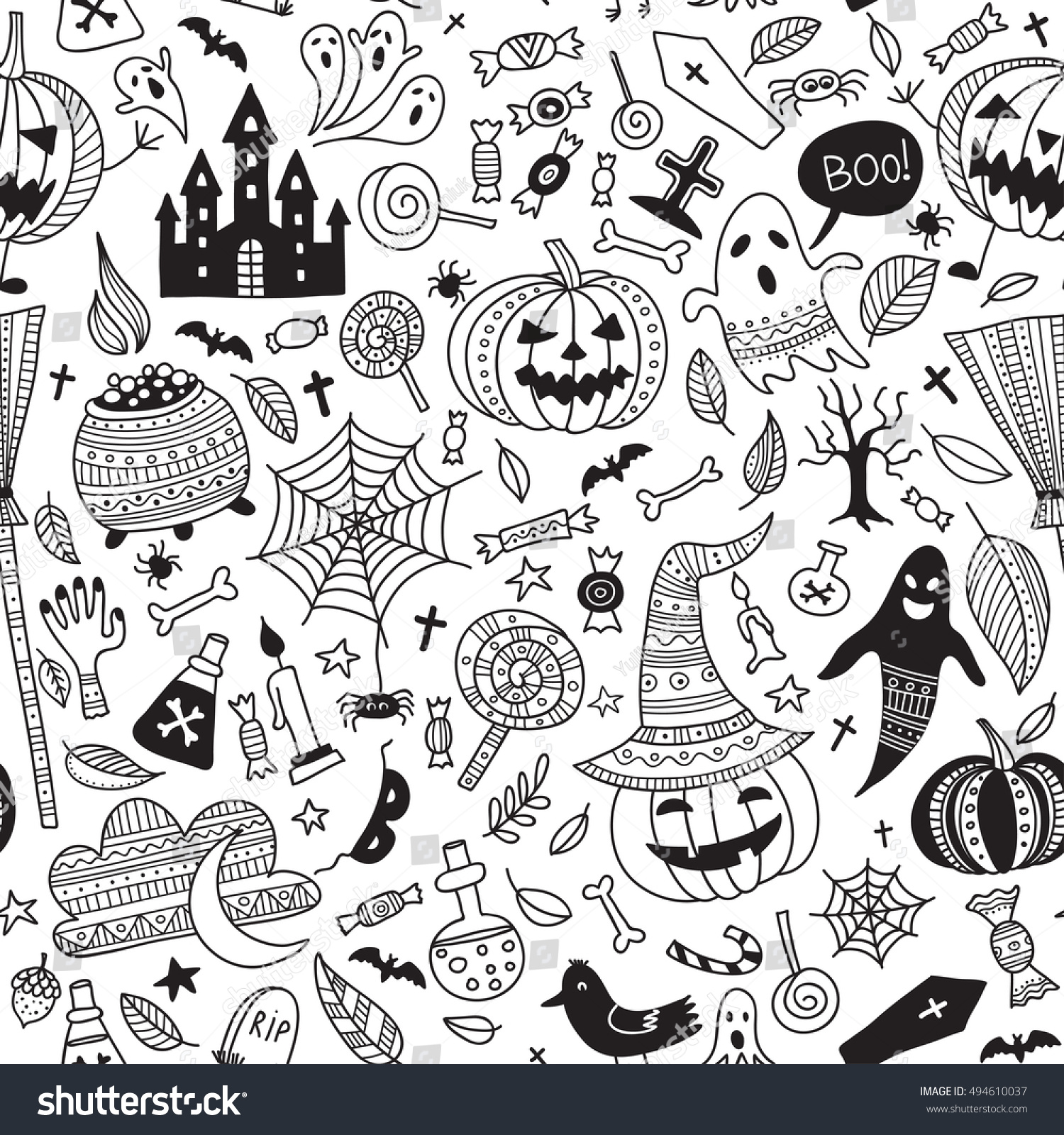 vector seamless pattern with halloween items in boho ornamental style can be printed and used - Halloween Items
