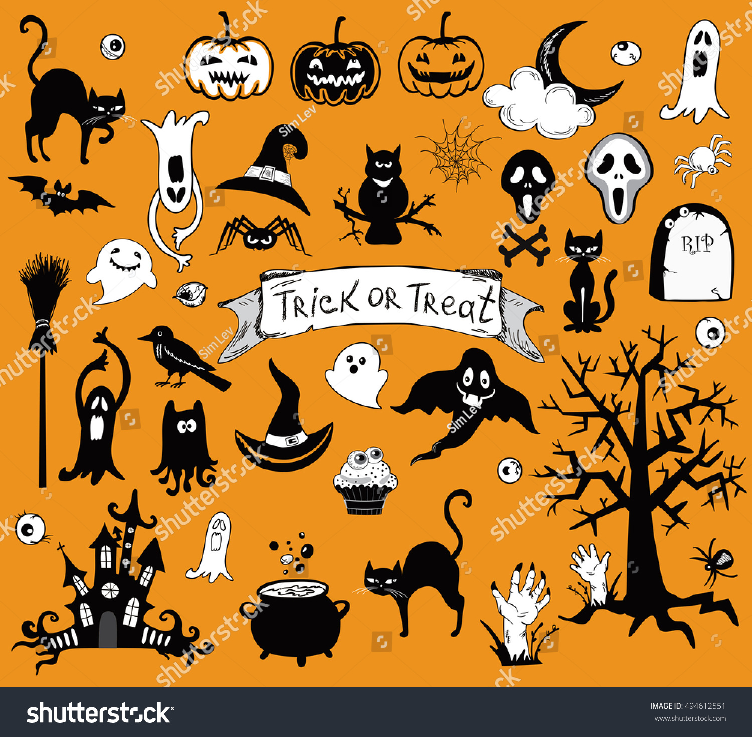 Happy Halloween Designs Set Various Elements Stock Vector ...