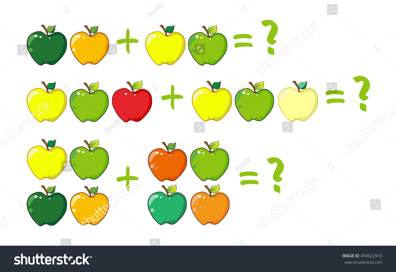 Cartoon Illustration Mathematical Addition Examples Apples Stock