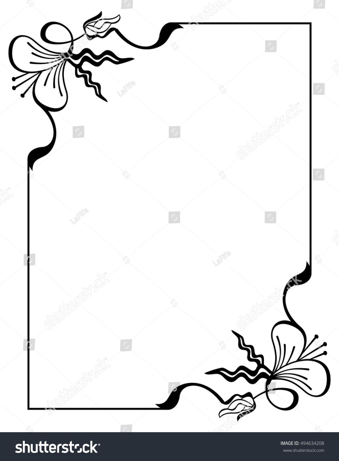 Silhouette Flower Frame Simple Black White Stock Vector Royalty