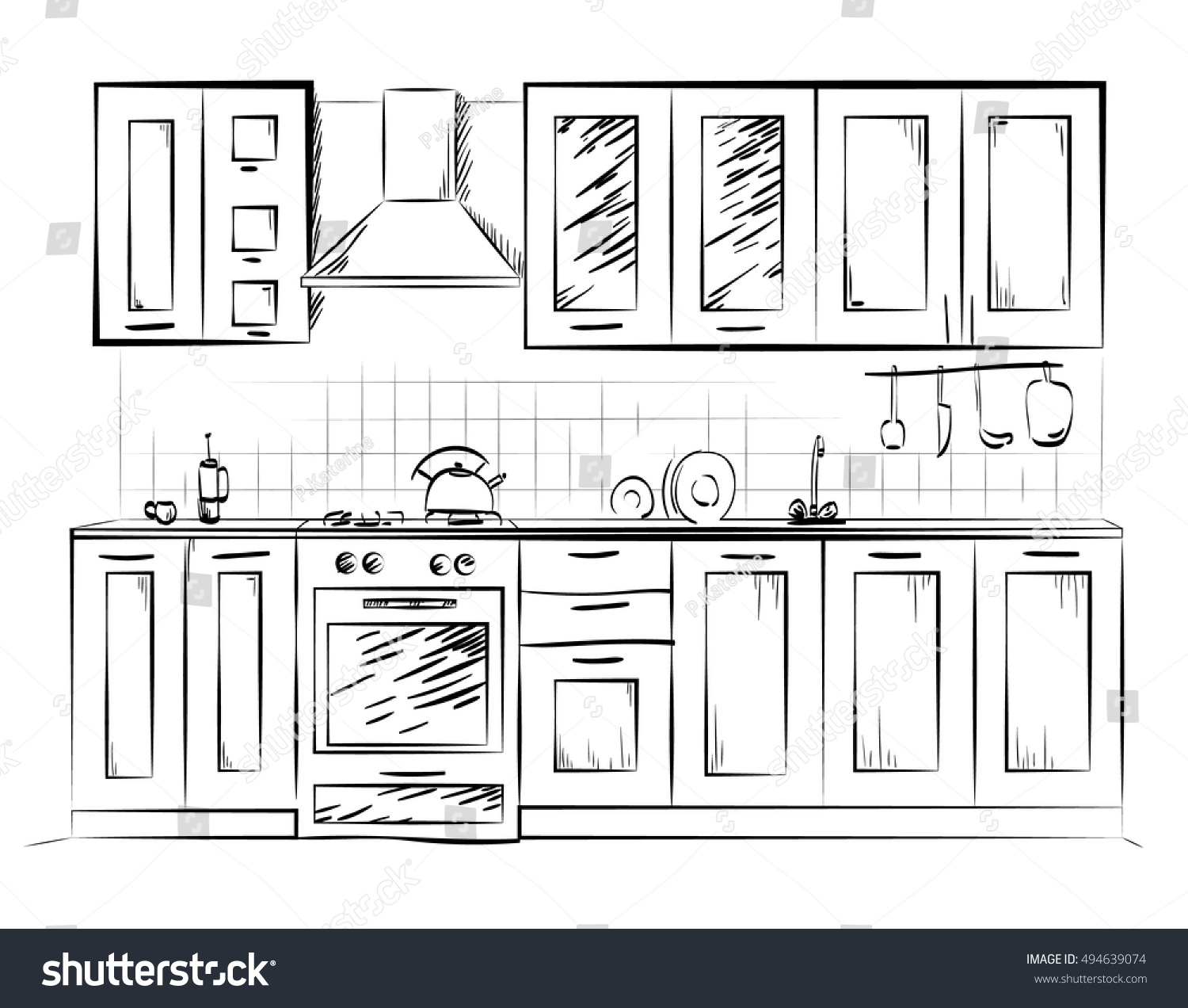 Kitchen sketch paint home hand design stock vector for Kitchen design vector