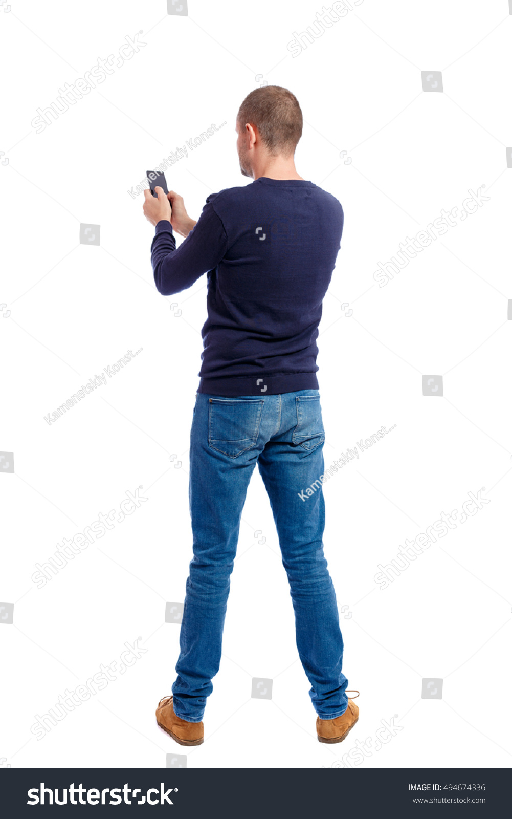 Back View Man Suit Talking On Stock Photo 494674336 ...