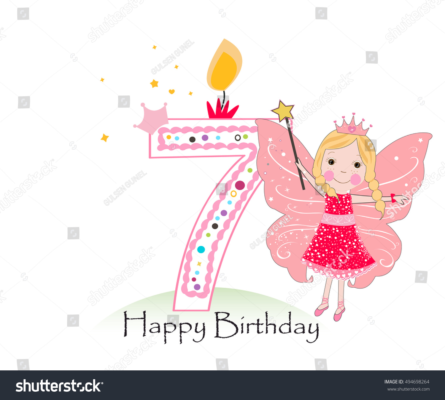 Happy Seventh Birthday Candle Baby Girl Stock Vector