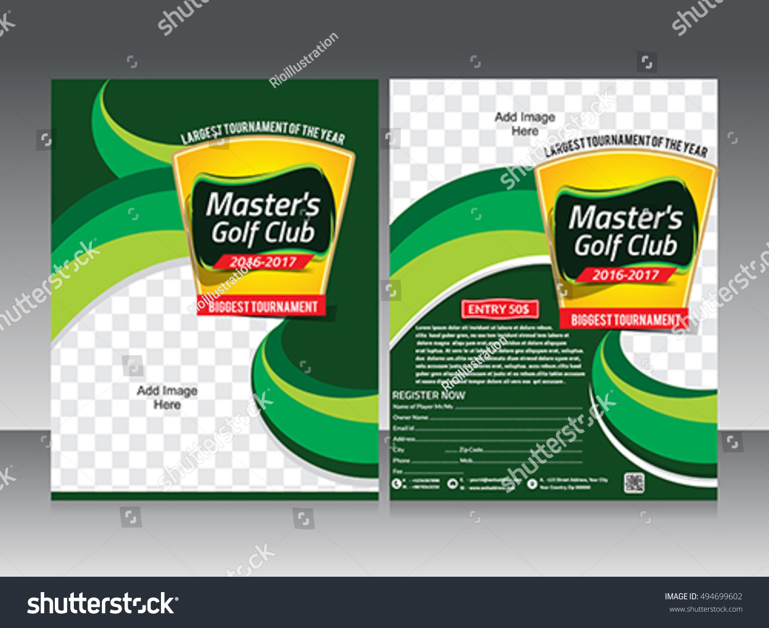 Golf Tournament Flyer Template Design U0026 Poster Vector Illustration