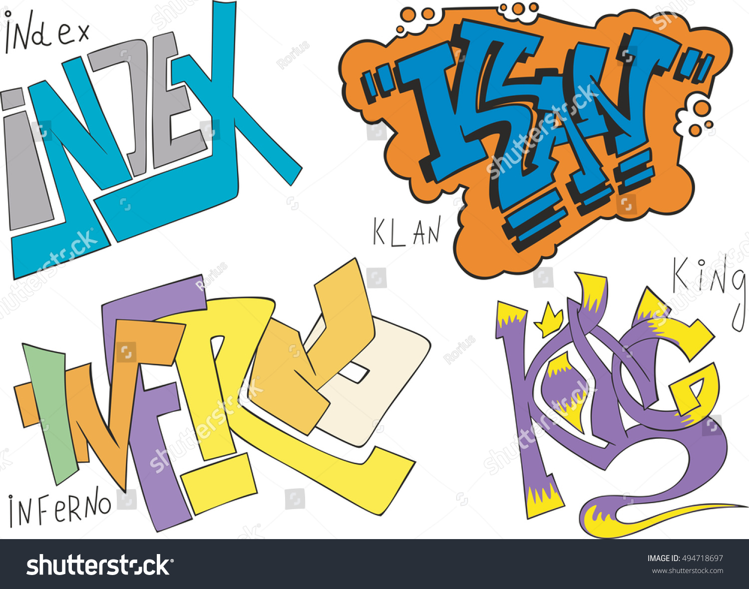 Set of four graffiti sketches index klan inferno and king