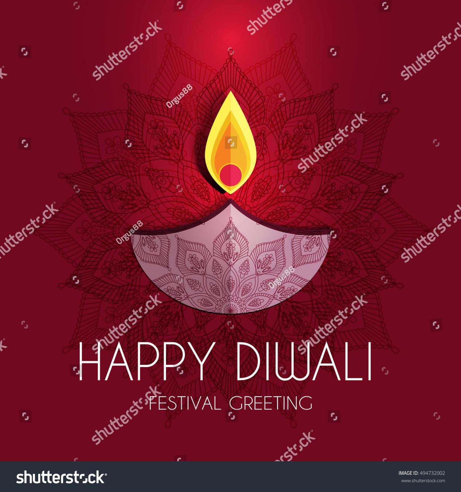 Beautiful Greeting Card Hindu Community Festival Stock Vector