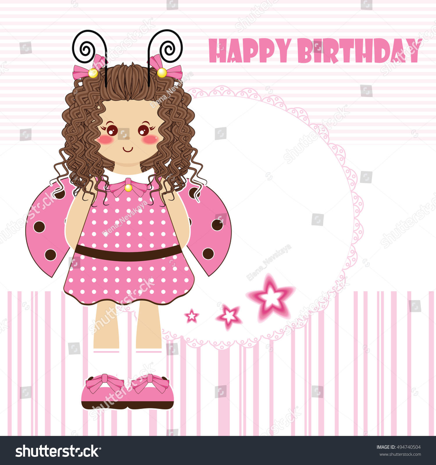 Happy birthday greeting card kawaii little stock vector 494740504 happy birthday greeting card kawaii little girl with curly hair and ladybug wings tender kristyandbryce Image collections
