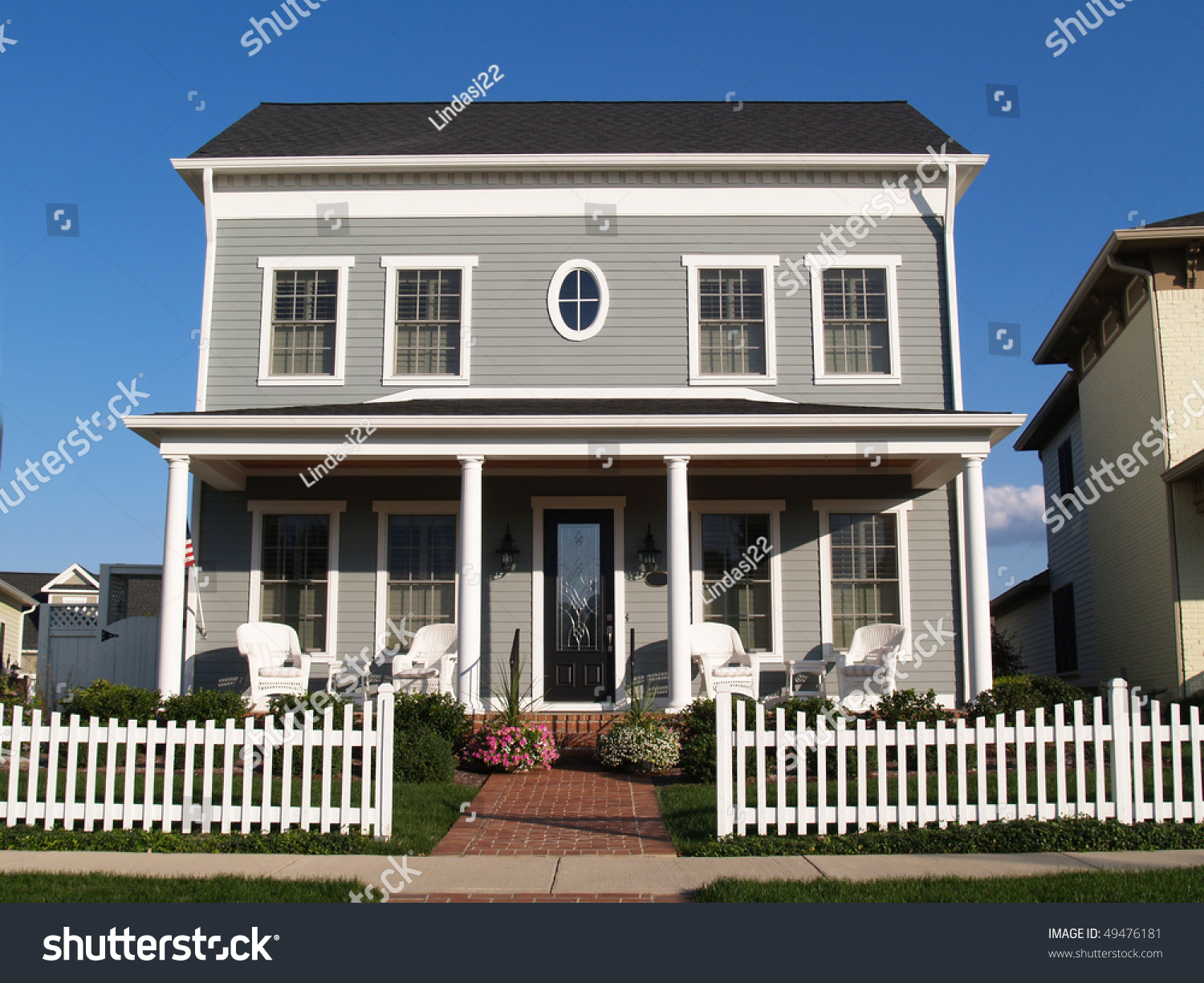 New Two Story Vinyl Home Built Stock Photo 49476181