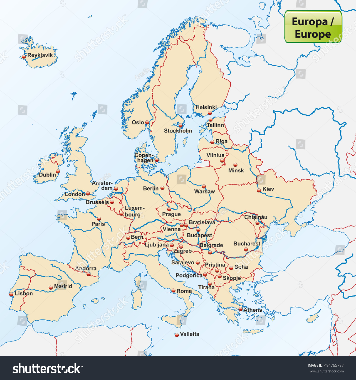 Map Europe Capital Cities Stock Vector Shutterstock - Map of europe with capital cities