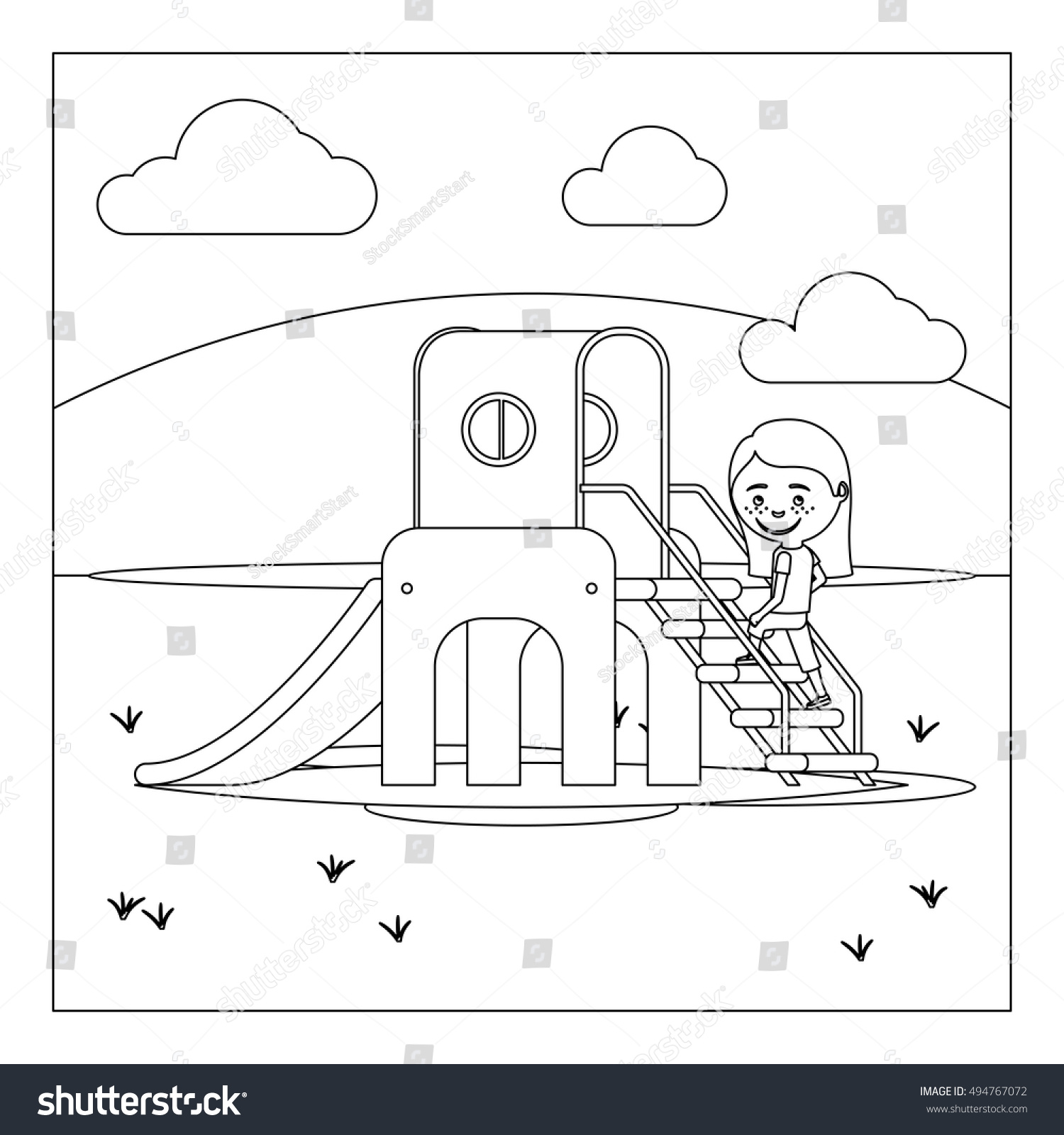 Coloring book page of a playground - Coloring Book Page Design With Kid On Playground Vector Illustration