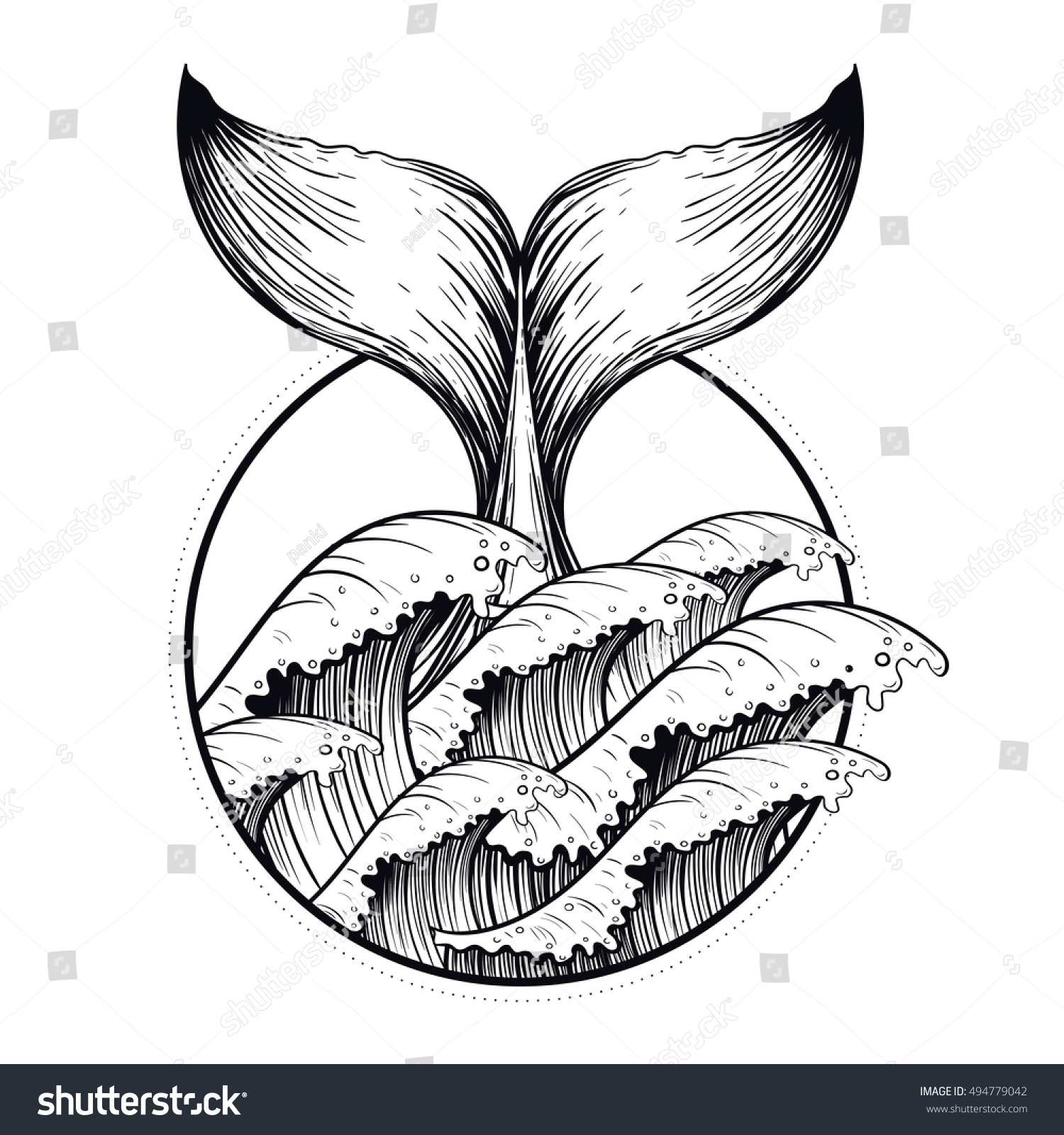 Line Art Poster Design : Whale tail sea waves boho blackwork stock vector