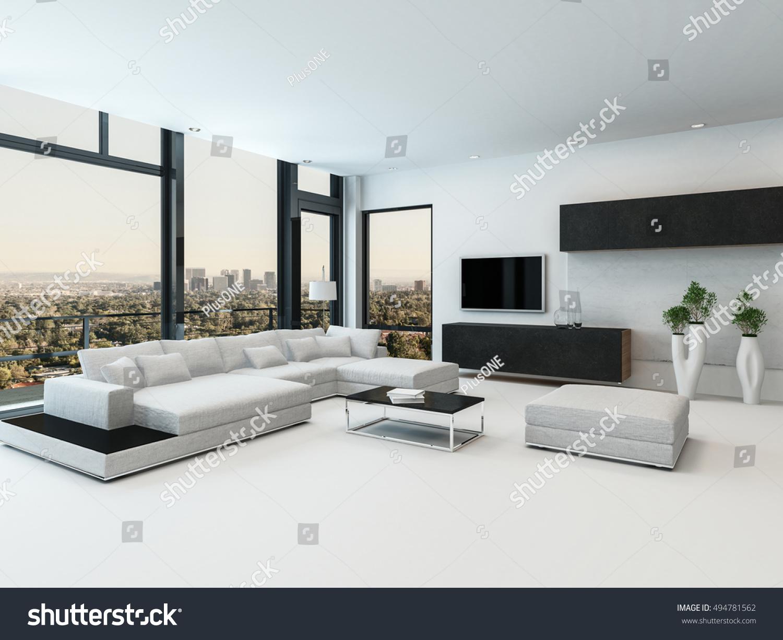 Stylish Modern Black White Living Room Stock Illustration 494781562 ...