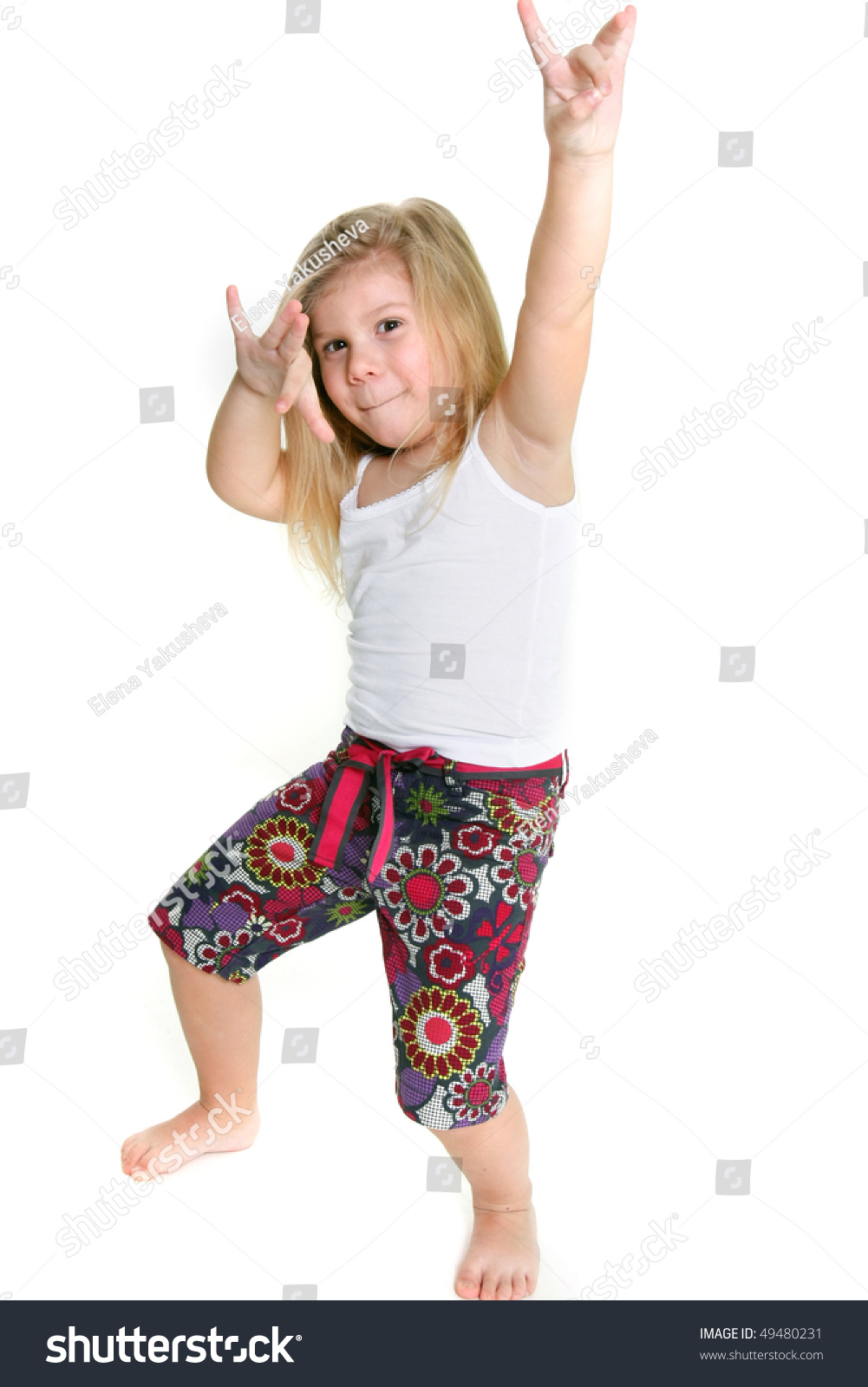 Little Girl Dancing Hiphop Over White Stock Photo 49480231 -7776