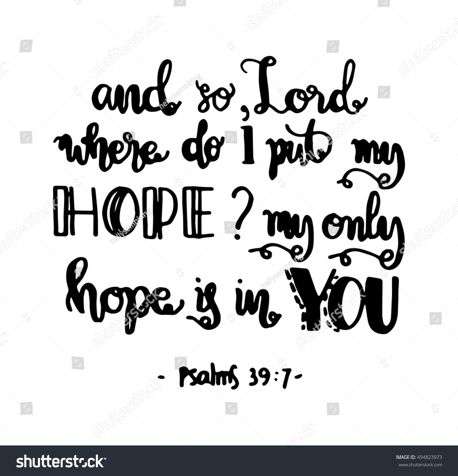 Bible Quotes About Hope Impressive My Only Hope You Bible Verse Stock Vector 494823973  Shutterstock