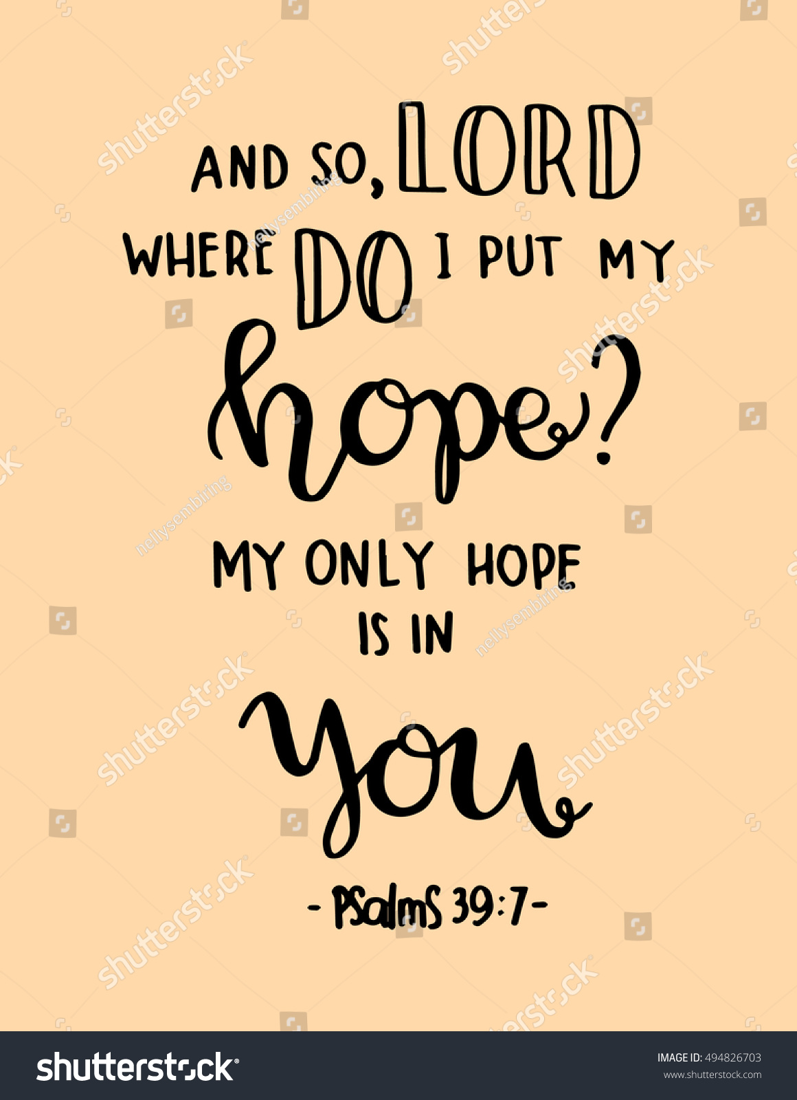 Bible Quotes About Hope Where Do Do Put My My Stock Vector 494826703  Shutterstock