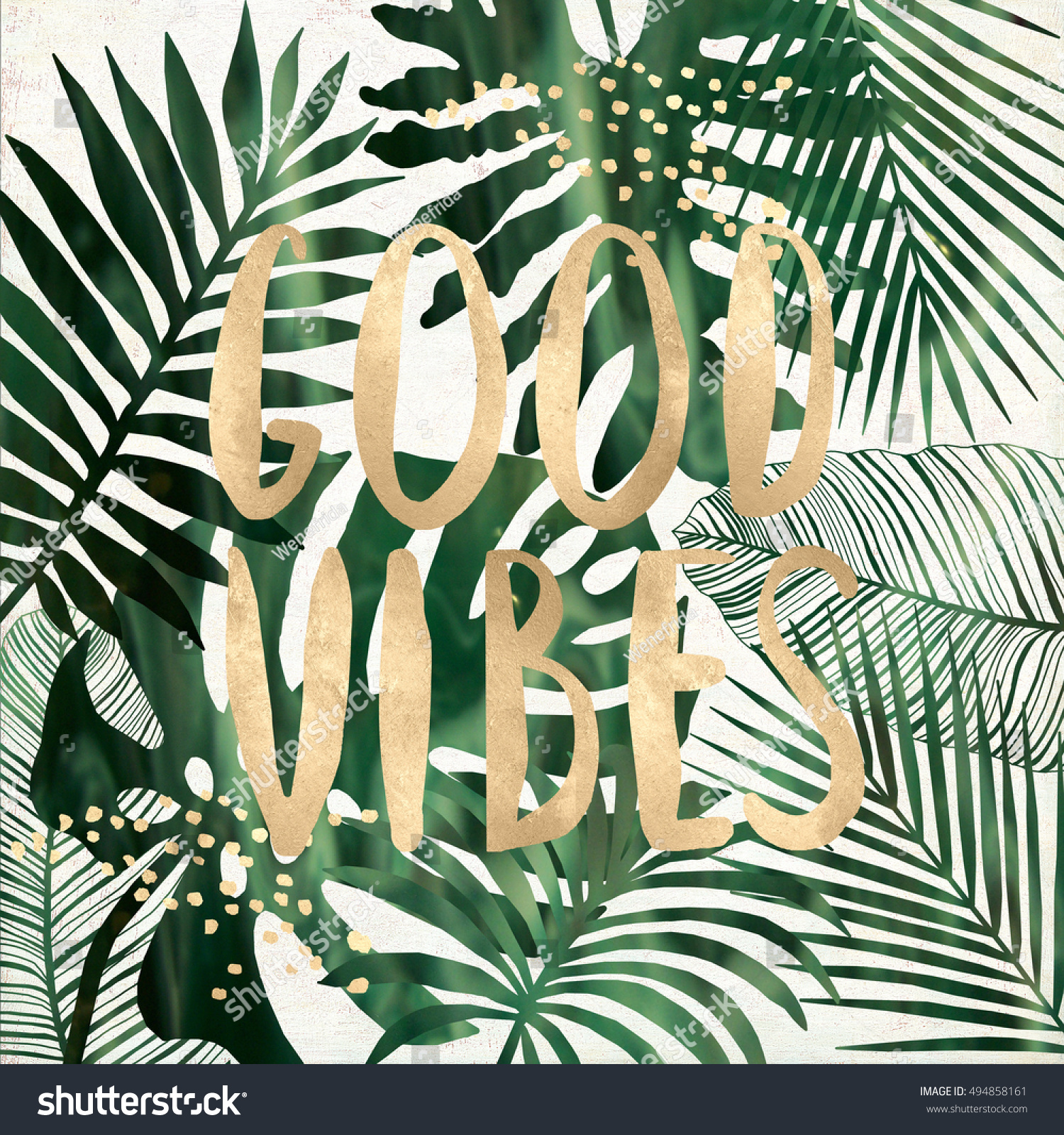 Good Vibes Quote Tropical Leaves Printable Stock