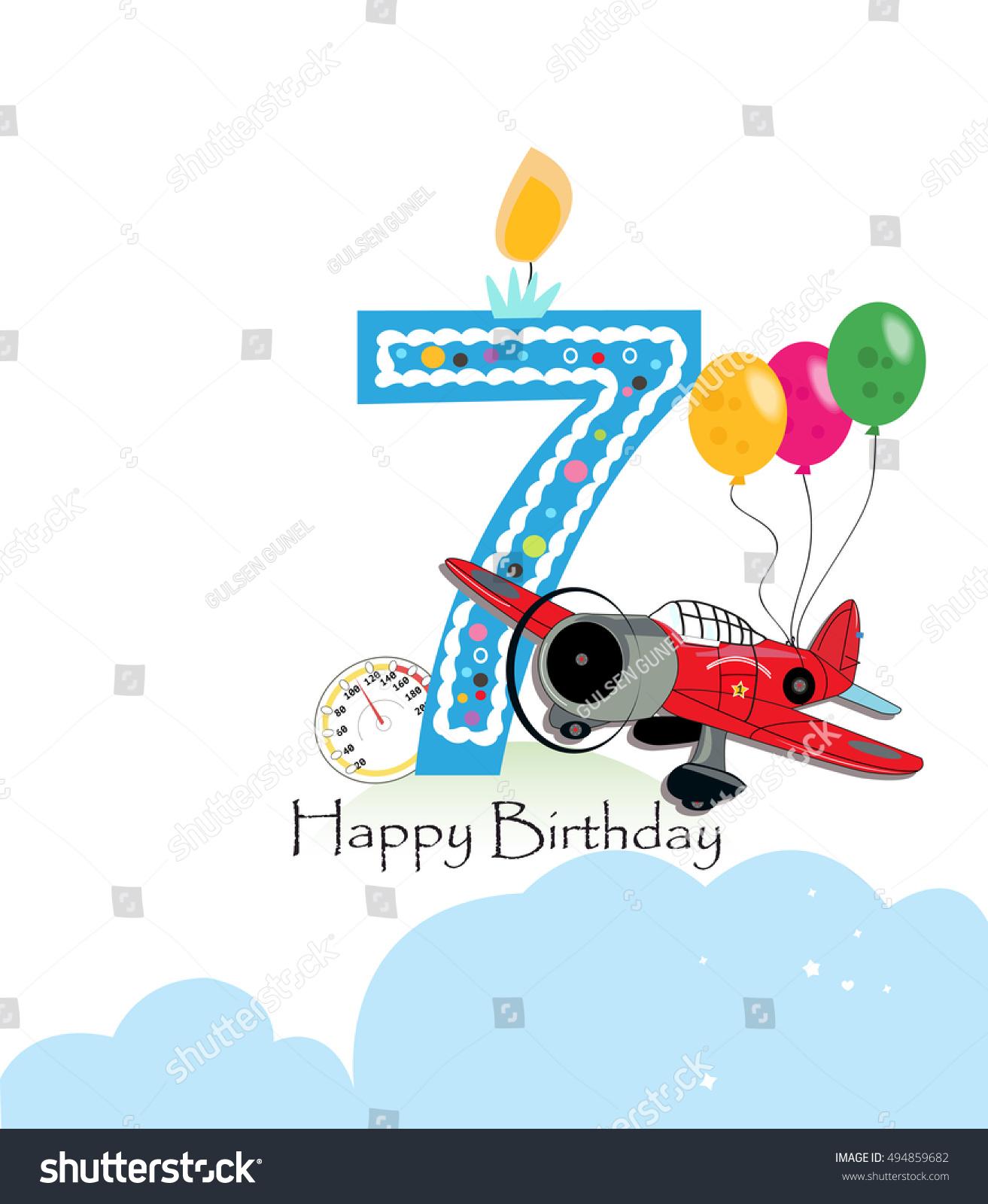 Seventh Birthday Greeting Card Air Plane Stock Vector