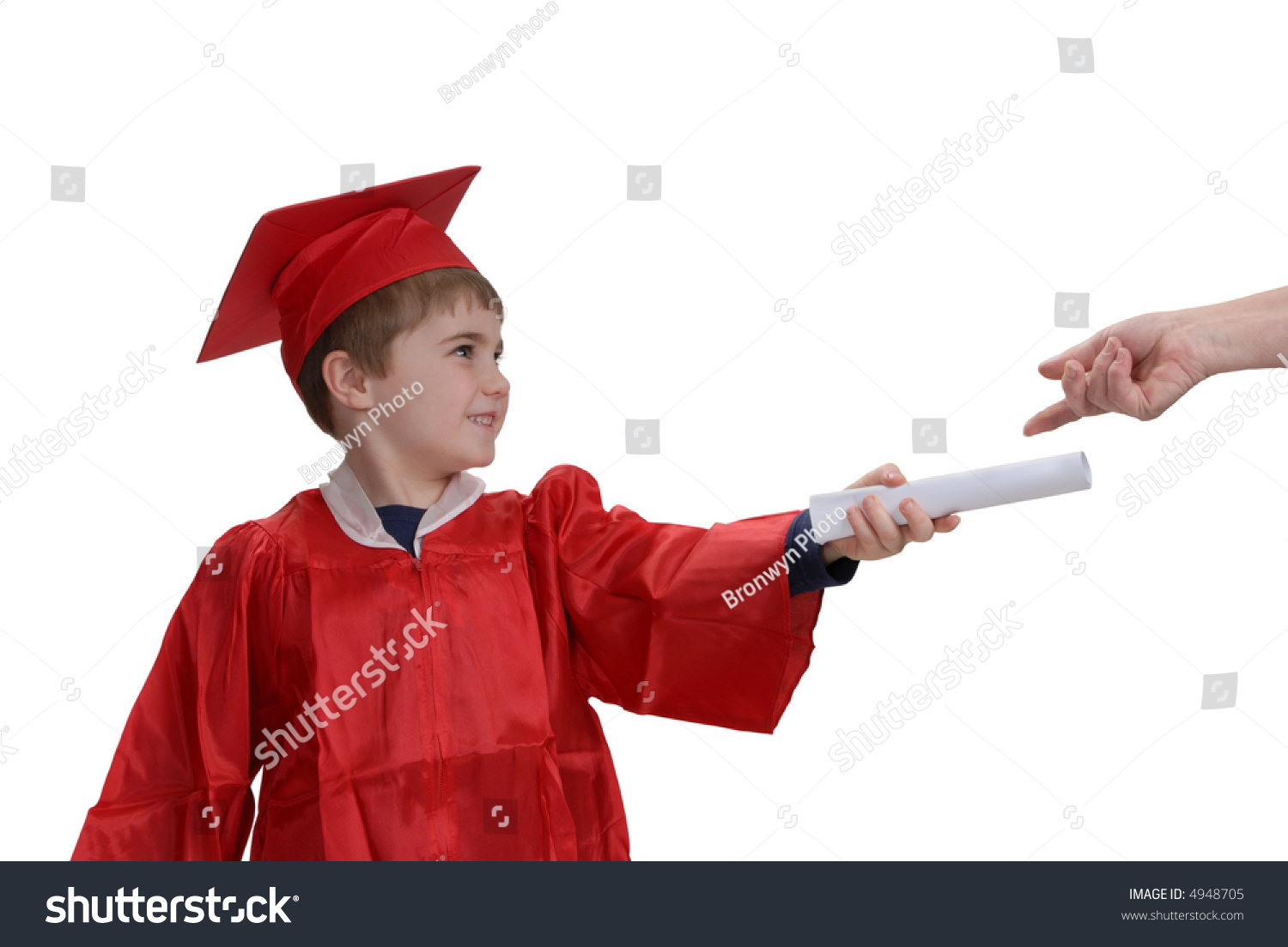 Young Boy Red Graduation Gown Hat Stock Photo (Edit Now) 4948705 ...
