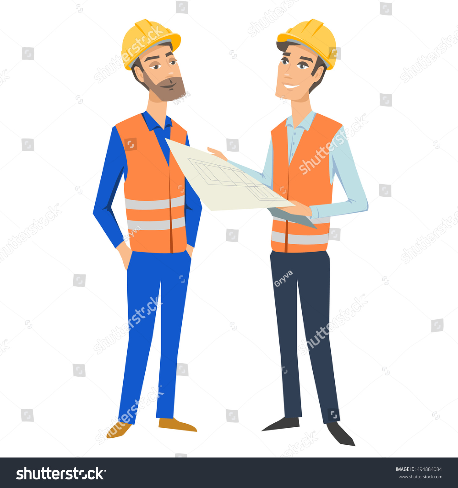 two full length persons architect engineer stock vector royalty