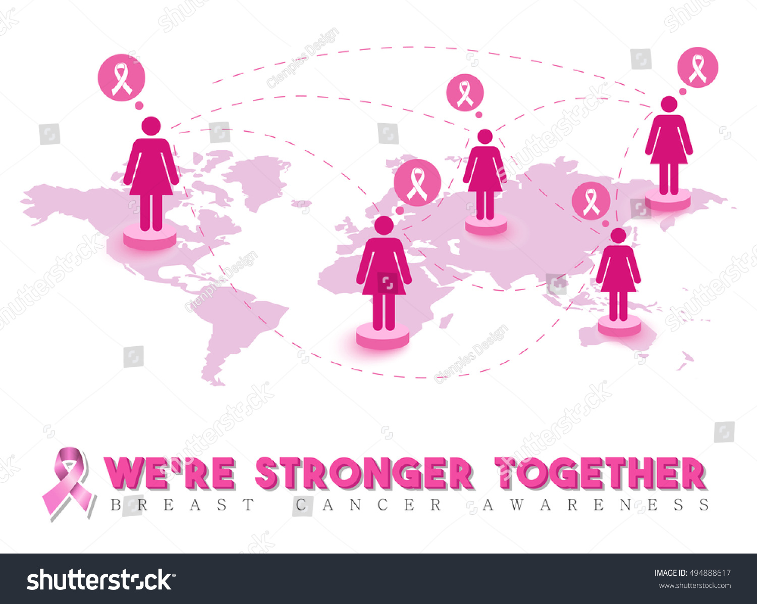 Breast cancer awareness design, pink women connected around the world for  global support and community