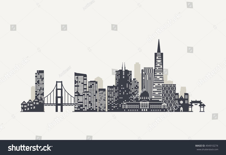 royalty free san francisco skyline silhouette 494910274 stock photo