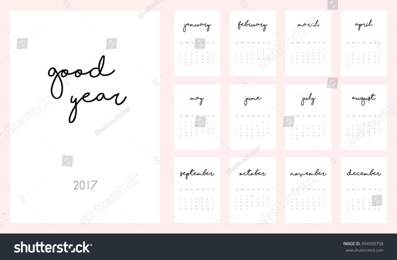 Good Year Beautiful Monthly Calendar 2017 Stock Vector 2018