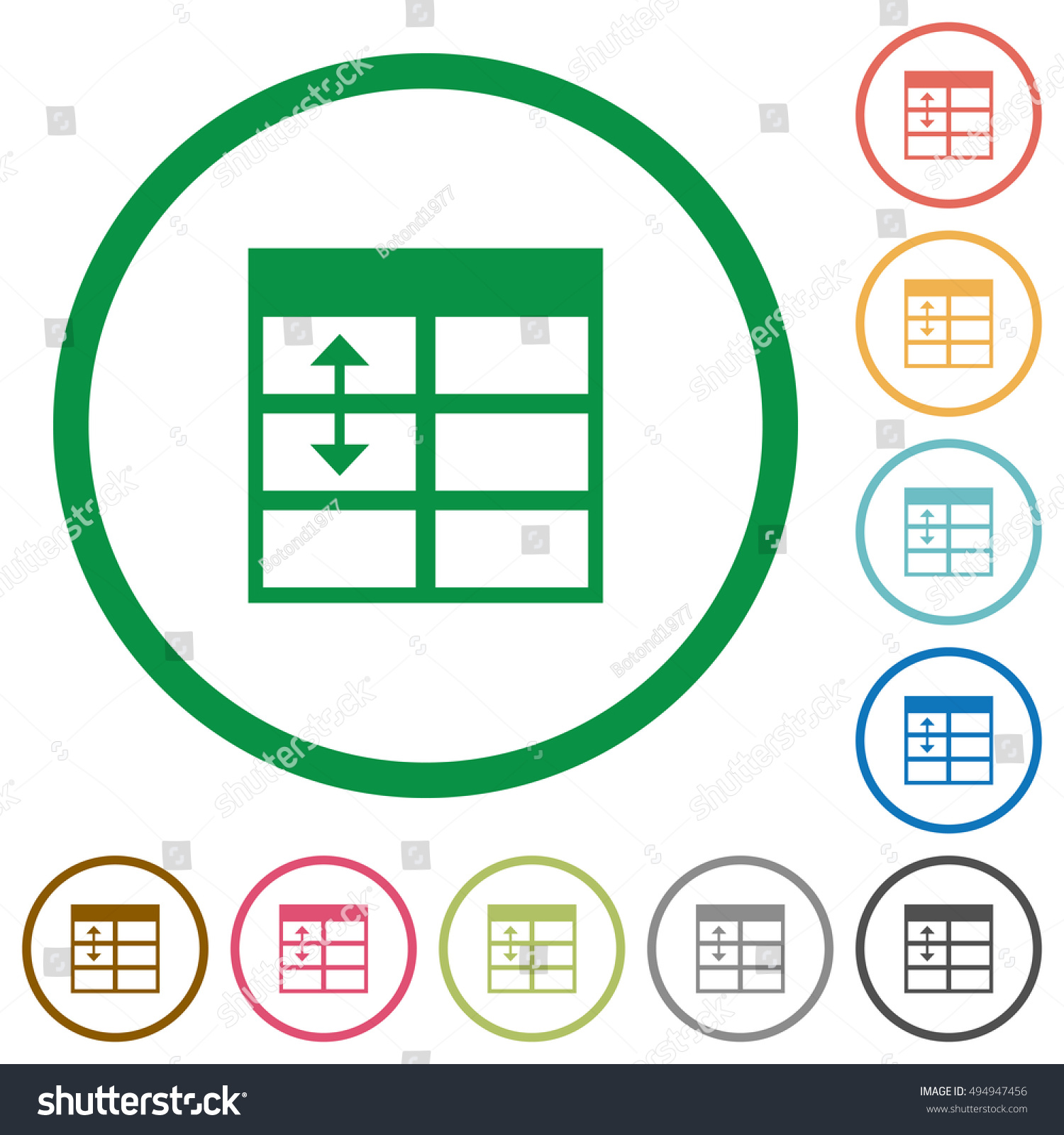 Set of Spreadsheet adjust table row height color round outlined flat icons on white background  sc 1 st  Shutterstock & Set Spreadsheet Adjust Table Row Height Stock Vector HD (Royalty ...