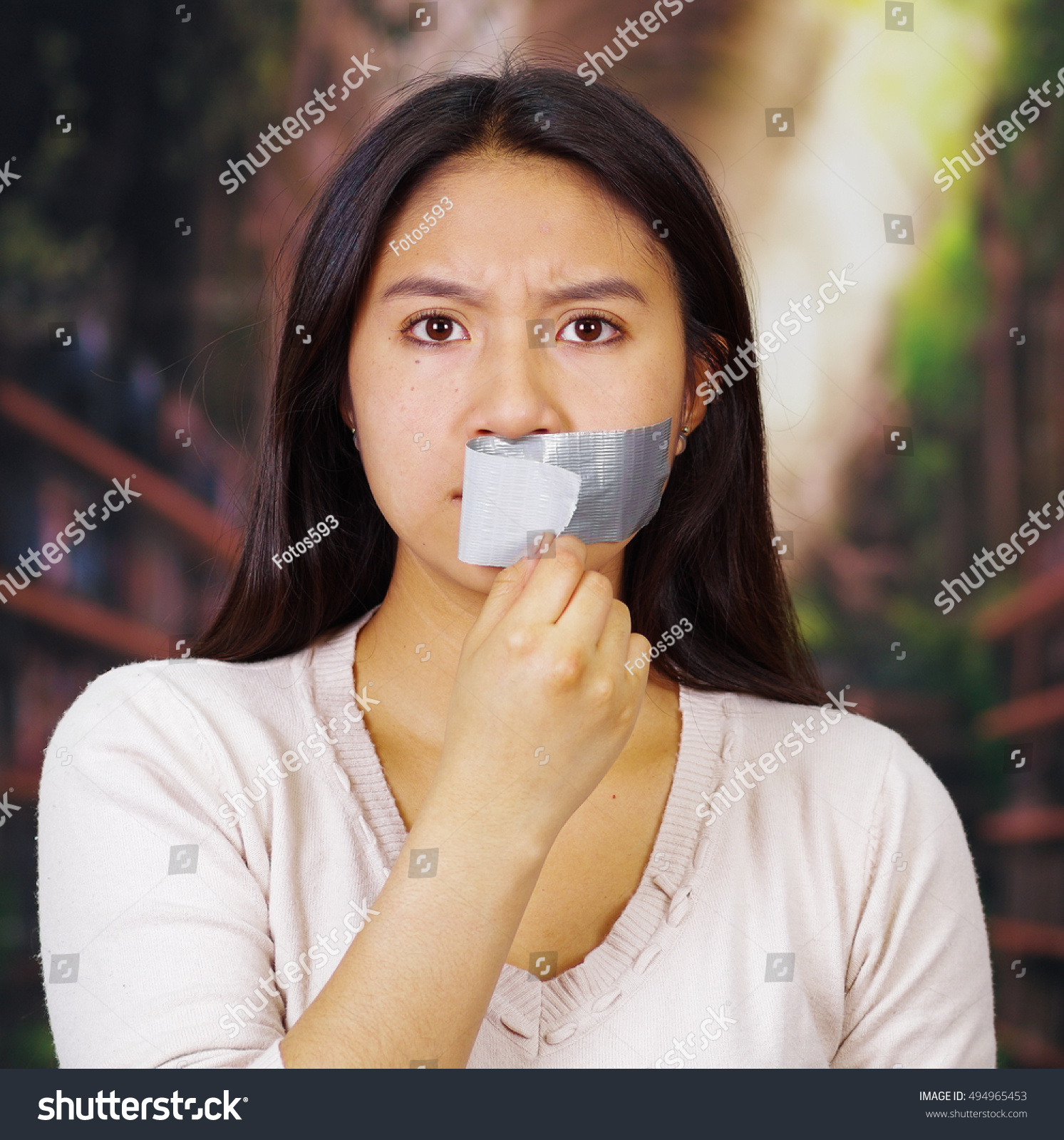Young Brunette Woman Wearing White Taking Stock Photo