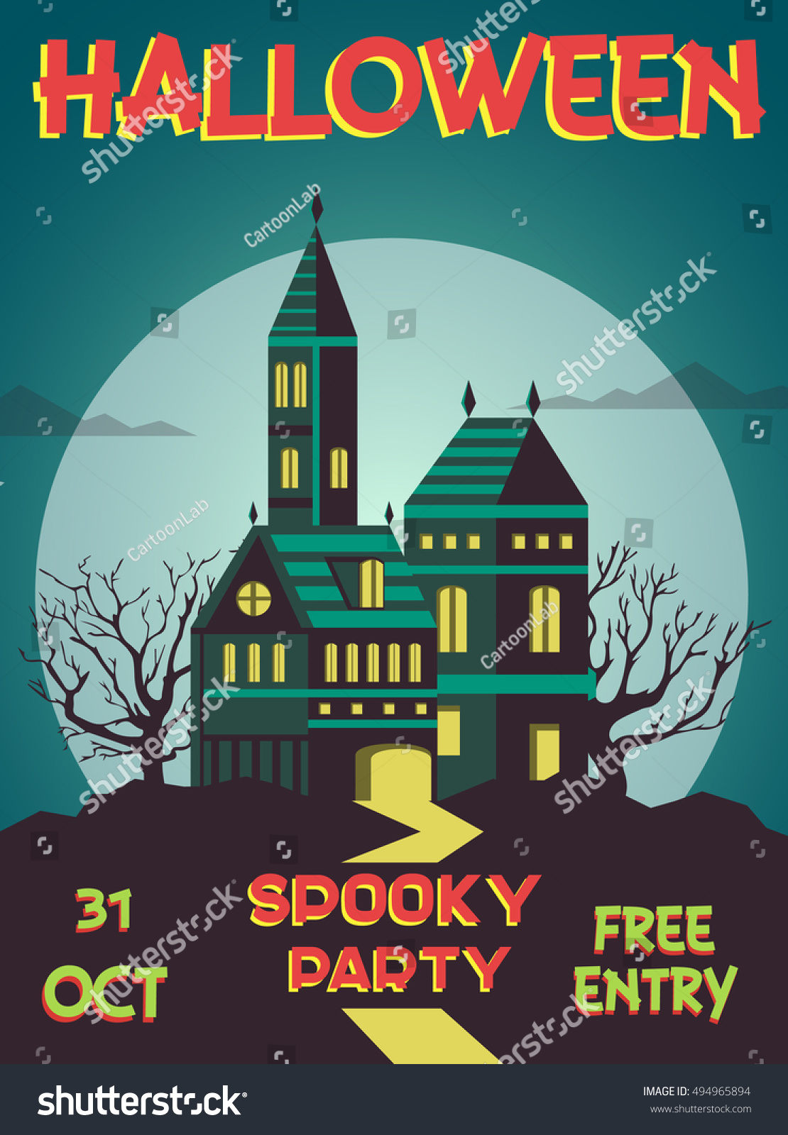 Spooky Halloween House, Halloween Invitation, Banner ,post Card, Poster.  Spooky