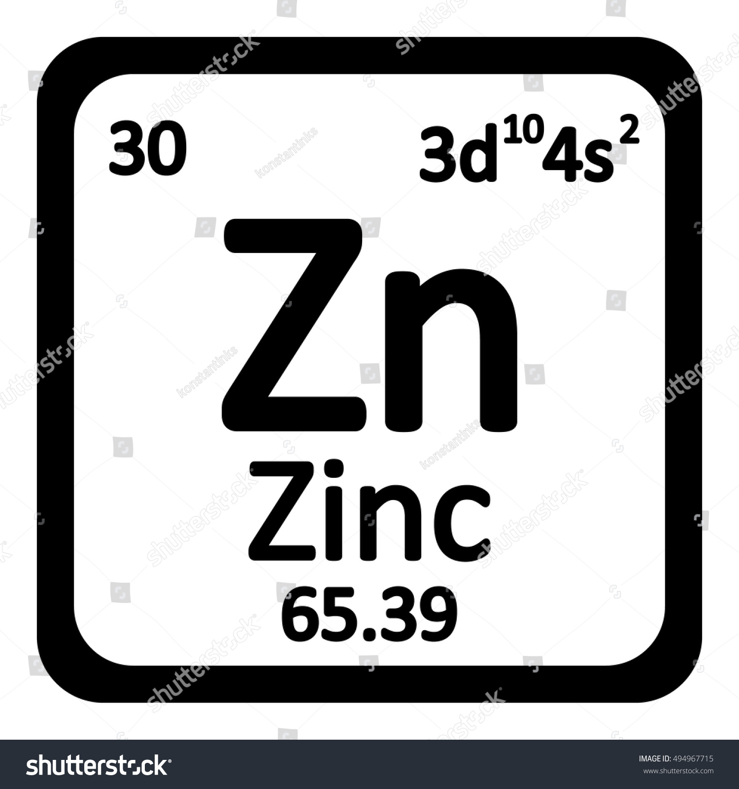 Periodic table element zinc icon on stock vector 494967715 periodic table element zinc icon on white background vector illustration gamestrikefo Image collections