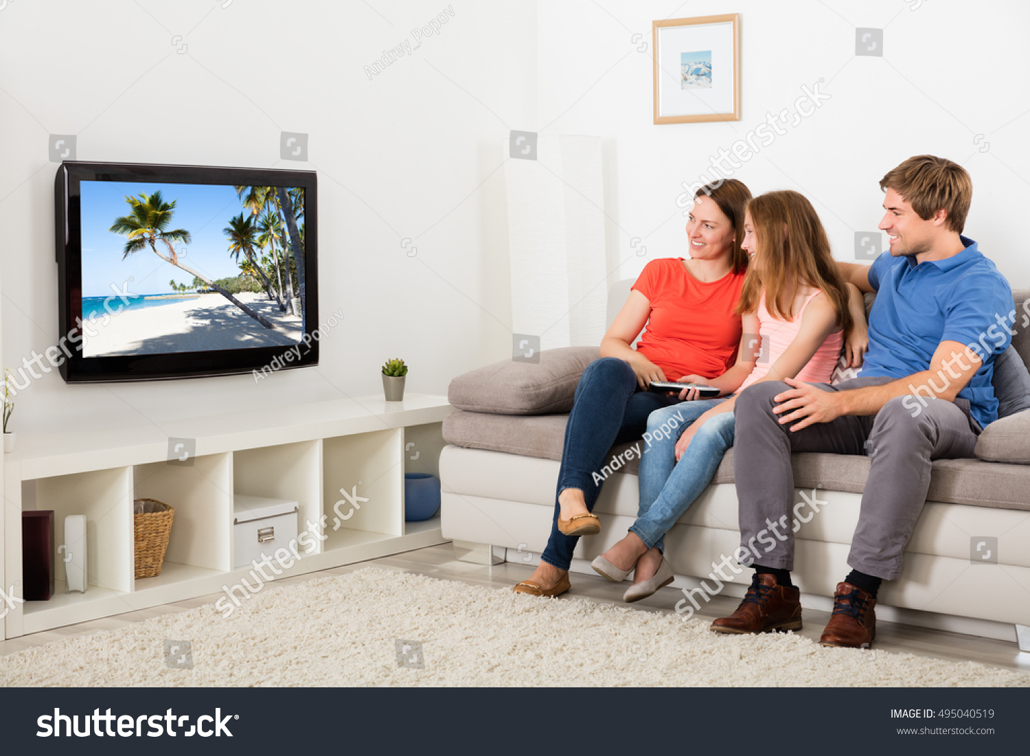 Tv In Living Room Family Watching Tv Living Room Stock Photo 495040519 Shutterstock