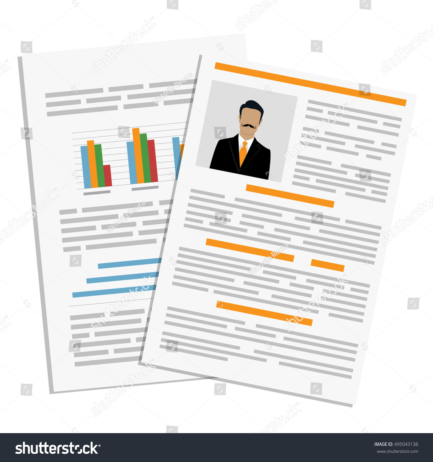 vector illustration cv resume report design stock vector 495043138